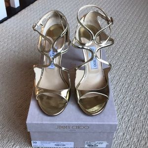 JIMMY CHIO MIRROR GOLD LEATHER STRAPPY SANDALS 39